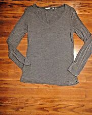 Max Studio Womens Knit Top Gray V Neck Long Sleeve Size Medium