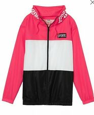 Victoria's Secret PINK xsmall/small Neon Red/Black Funnel Neck Anorak NWT