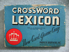 Vintage 1937 Parker Brothers Crossword Lexicon Card Game Rules & Brochure