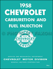 1958 Chevrolet Fuel Injection Service Training Manual Corvette Impala Chevy