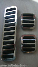VW BEETLE SET 3 CHROME PEDAL COVERS RUBBERS - CLASSIC BEETLE / BUGGY T1 BUG +