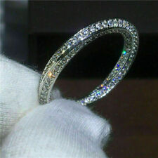 Certified 1.00Ct Diamond Eternity Band Engagement Ring Solid 14K White Gold Over