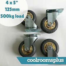 4 x 5'' 125mm Caster Wheels Swivel Castor 500kg Load Heavy Duty Solid Rubber