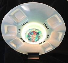 Kelleman Kuatro Glass art Passover Plate , Hand Made W/ Light Stand