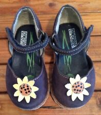 Girls GYMBOREE Canvas  Mary Janes Shoes Navy Blue Sunflower Toddler Size 2M