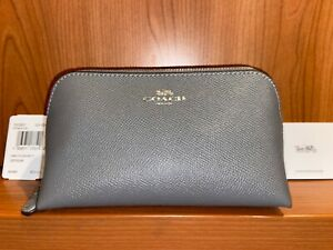 NWT $78 Coach F57857 Cosmetic Case 17 Travel Makeup Bag Leather Gray