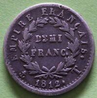 FRANCE DEMI FRANC NAPOLEON 1ER 1812 T
