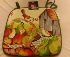 """SET OF 4 KITCHEN CHAIR PADS CUSHIONS, BIRDS & FRUITS, 13"""" x 15"""" FREE SHIPPING"""