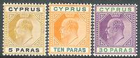 Cyprus 1904 part set multi-crown CA mint SG60/61/63
