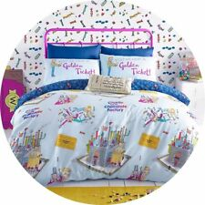 Willy Wonka and the Chocolate Factory SINGLE duvet set (Roald Dahl) Blue & White