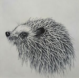 Original Pen and Ink Hedgehog Animal Nature Sketch Drawing Tamyra Crossley Art