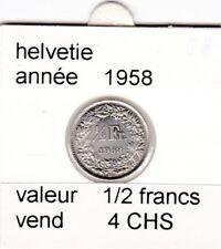 S 1) pieces suisse de 1/2  francs de 1958   argent  voir description