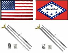 3x5 Usa American & State of Arkansas Flag & 2 Aluminum Pole Kit Sets 3'x5'