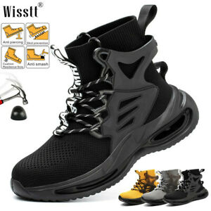 Mens Mid Ankle Work Safety Boots Mesh Working Casual Waterproof Steel Toe Shoes
