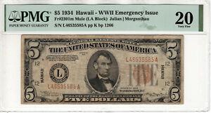 1934 $5 FEDERAL RESERVE NOTE HAWAII FR.2301m MULE PMG VERY FINE VF 20 (585A)