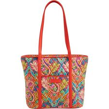 VERA BRADLEY Trimmed Vera Tote Bag  PAISLEY IN PARADISE -NWT w/faux leather trim