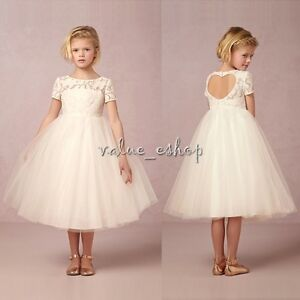 Flower Girl Dress Lace Princess Formal Birthday Pageant Wedding Bridesmaid Party
