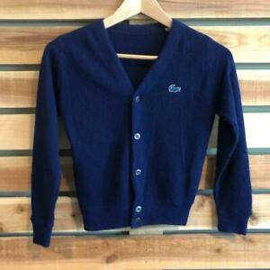 VTG 80s/90s Navy Blue Lacoste Cardigan Grandpa Hipster Sweater YOUTH S/M