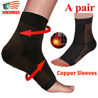 1 Pair Magnetic Copper Compression Relief Ankle Support Brace Foot Sleeve Socks