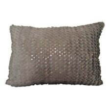 "Faux Fur Smoked Olive Sequin Embriodery 14x19"" Throw Pillow Case / Cushion Cover"