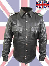 Mens  Black Faux Leather Police Uniform Full Sleeves Shirt ( PSF-BLK-DMC)