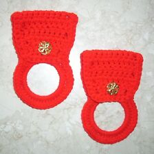 TOWEL HOLDERS, Crochet, RED, Gold Antique-Look Buttons, SET OF 2, New, HANDMADE
