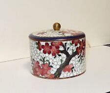 INABA CHERRY BLOSSOMS DESIGN CLOISONNE WHITE ENAMEL BOX SIGNED