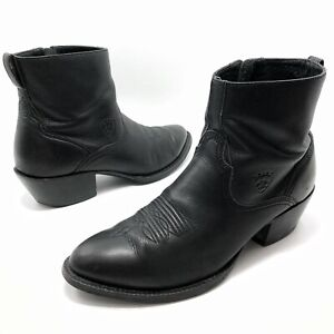 ✅💟✅@ Men's Ariat Black Leather 'Deputy' Side Zip Western Ankle Boots 10.5D 43.5