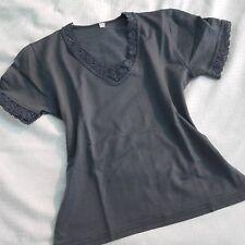 Crop top grigio perla elasticizzato bordato in pizzo maglia maglietta sottogiacc
