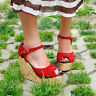 New Women's Peep Toe Pumps Wedge Heel Platform Ankle Strap Sandals Shoes Size 8