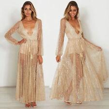 Fashion Women V Neck Evening Dress Long Neckline Bridesmaid Dress with Sequin