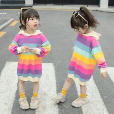 Kids Hoodie Lined Fleece Girls Sweatshirts Dress Rainbow Striped Pullover Casual