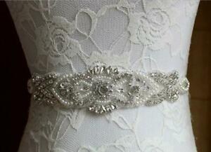 Bridal Wedding Dress Rhinestone Pearl Belt Sash Diamante Sparkle Crystal Sashes