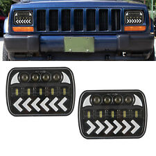 7x6 5X7 H6054 Dynamic LED Hi/Lo Headlight DRL For Chevrolet Jeep Cherokee XJ YJ