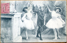1906 Dancing Postcard: Clown/Jester w/Two Ballerinas/Ballet - 2