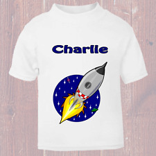 Personalised Funny Space Rocket Named T Shirt for kids Named Child Tee Nice Gift