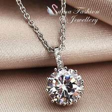 18K White Gold GP Made With Swarovski Element Brilliant Cut 2.5 ct Necklace