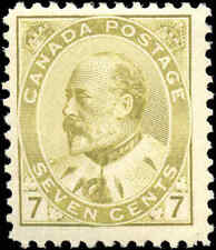 1903 Mint H Canada F+ Scott #92 7c King Edward VII Issue Stamp