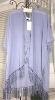 NEW 2X 1X XL L M Blue Embroidered Floral Fringe Open Kimono Topper