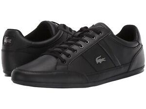 Men's Shoes Lacoste CHAYMON BL 1 Leather Lace Up Sneakers 37CMA009402H BLACK