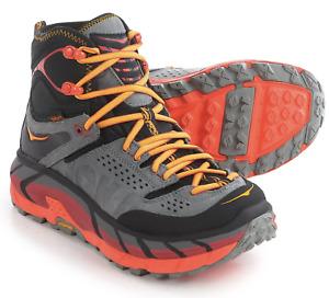 Hoka One One Tor Ultra Hi WP Hiking Trail Boots NEW Men 7.5 Women 9 Black/Flame