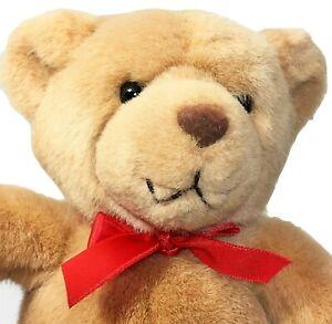 "Gund Tender Teddy Bear Plush Brown Tan Stuffed Animal 2123 Red Bow 9"""