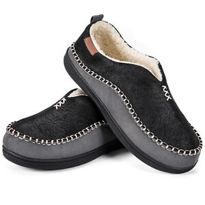Mens Lined House Shoes Memory Foam Faux Suede Moccasin Slippers Size 9 10 11