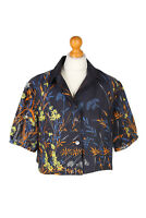 Vintage Siriem Shirt Short Sleeve Floral Printed WOMEN UK Chest M Navy - LB238