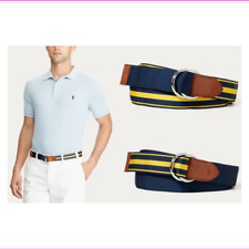 Polo Ralph Lauren Reversible Grosgrain  Belt Navy Yellow  S