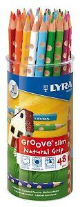 Lyra Groove Slim Size Triangular Colouring Pencils Desktop Pot of 48