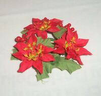 VTG Poinsettia & Holly Berry Miniature Candle Ring Wreath Silk Flowers Plastic