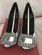 New Auth Roger Vivier silver Swarovski crystal 85mm heels shoes SZ 35.5 6 $2050