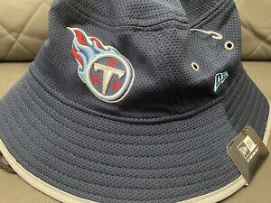 NEW ERA TENNESSEE TITANS SZ M-L BLUE ON THE  FIELD TRAINING BUCKET HAT Adult