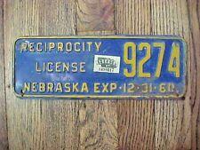 1960-1961 Reciprocity License Plate Embossed  Nebraska Topper